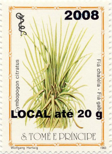 Cymbopogon citratus - Issue of Sao Tome and Principe postage stamps