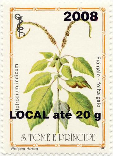 Heliotrpium indicum - Issue of Sao Tome and Principe postage stamps