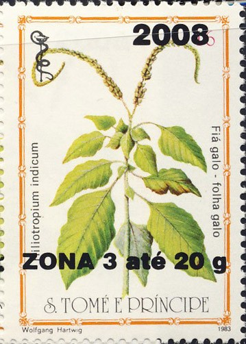 Heliotrpium indicum - Issue of Sao Tome and Principe postage stamps