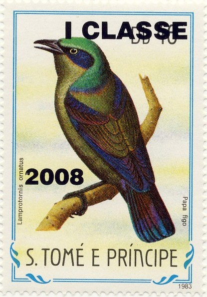 Lamprotornis ornatus - Issue of Sao Tome and Principe postage stamps