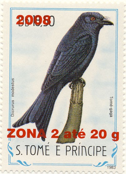 Dircurus modestus - Issue of Sao Tome and Principe postage stamps