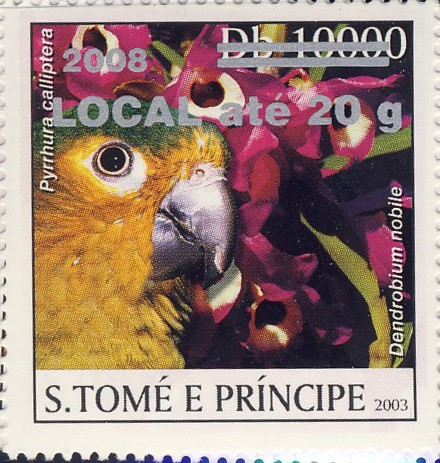 Parrot & red flower (2008) - silver -  LOCAL ate 20g - Issue of Sao Tome and Principe postage stamps