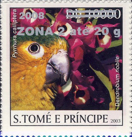 Parrot & red flower (2008) - silver -  ZONA 2 ate 20g - Issue of Sao Tome and Principe postage stamps