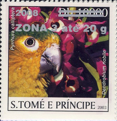 Parrot & red flower (2008) - silver -  ZONA 3 ate 20g - Issue of Sao Tome and Principe postage stamps