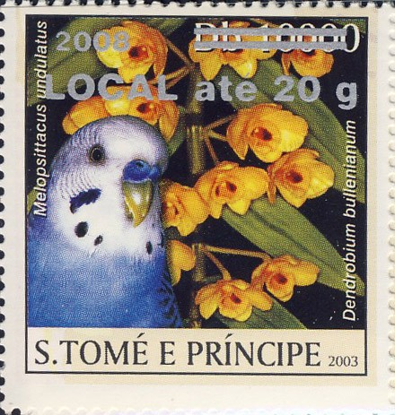 Parrot & yellow flower (2008) - silver -  LOCAL ate 20g - Issue of Sao Tome and Principe postage stamps