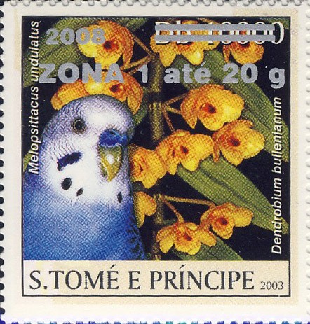 Parrot & yellow flower (2008) - silver -  ZONA 1 ate 20g - Issue of Sao Tome and Principe postage stamps
