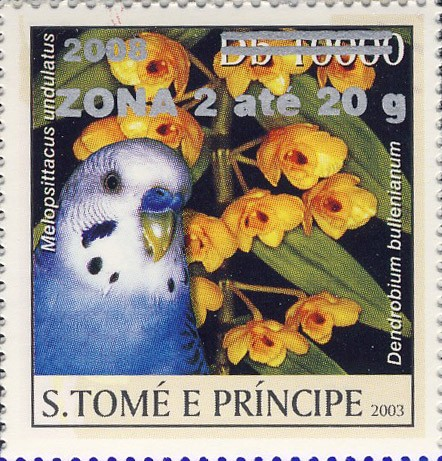 Parrot & yellow flower (2008) - silver -  ZONA 2 ate 20g - Issue of Sao Tome and Principe postage stamps