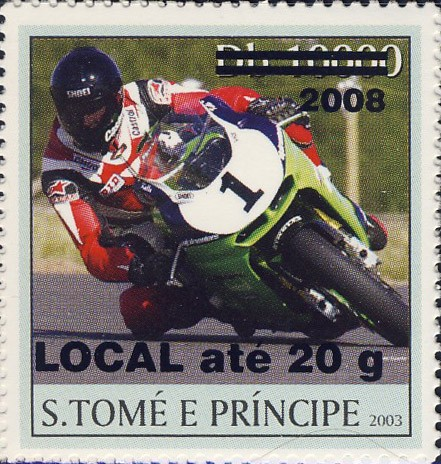 Motorcycle (2008) - black - LOCAL ate 20g - Issue of Sao Tome and Principe postage stamps