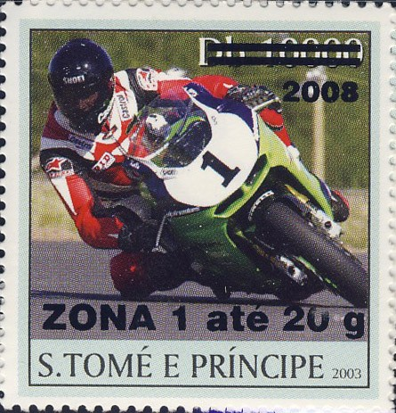 Motorcycle (2008) - black - ZONA 1 ate 20g - Issue of Sao Tome and Principe postage stamps