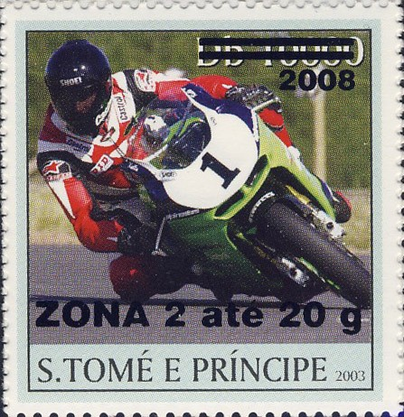 Motorcycle (2008) - black - ZONA 2 ate 20g - Issue of Sao Tome and Principe postage stamps