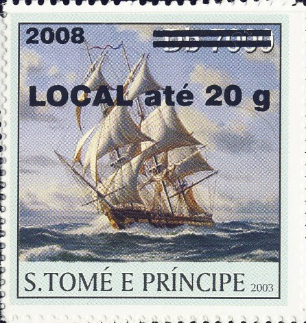 Sail Ships (2008) - black - LOCAL ate 20g - Issue of Sao Tome and Principe postage stamps