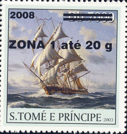 Sail Ships (2008) - black - ZONA 1 ate 20g - Issue of Sao Tome and Principe postage stamps