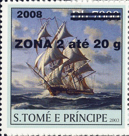 Sail Ships (2008) - black - ZONA 2 ate 20g - Issue of Sao Tome and Principe postage stamps