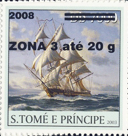 Sail Ships (2008) - black - ZONA 3 ate 20g - Issue of Sao Tome and Principe postage stamps