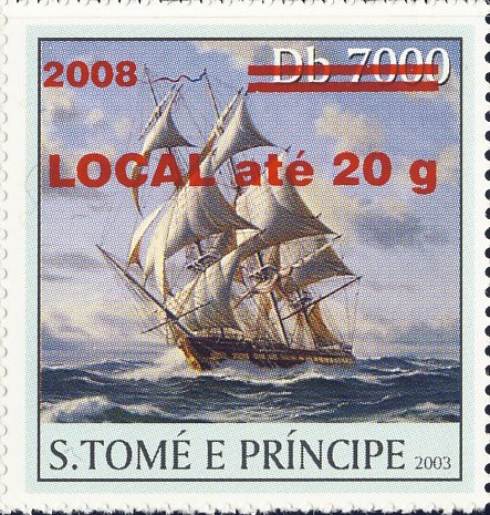 Sail Ships (2008) - red - LOCAL ate 20g - Issue of Sao Tome and Principe postage stamps