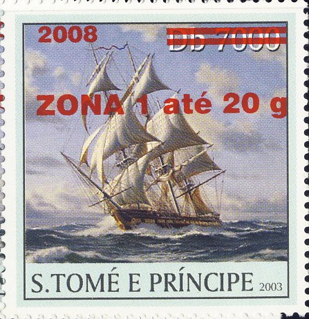 Sail Ships (2008) - red - ZONA 1 ate 20g - Issue of Sao Tome and Principe postage stamps