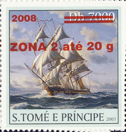 Sail Ships (2008) - red - ZONA 2 ate 20g - Issue of Sao Tome and Principe postage stamps