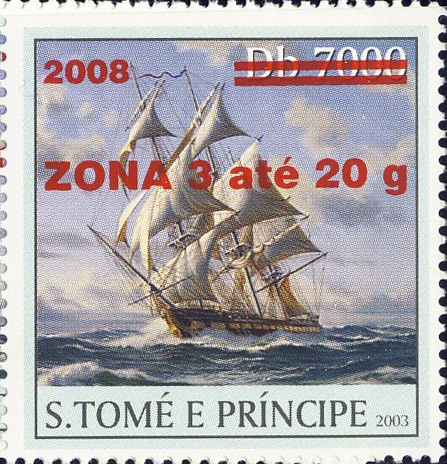 Sail Ships (2008) - red - ZONA 3 ate 20g - Issue of Sao Tome and Principe postage stamps