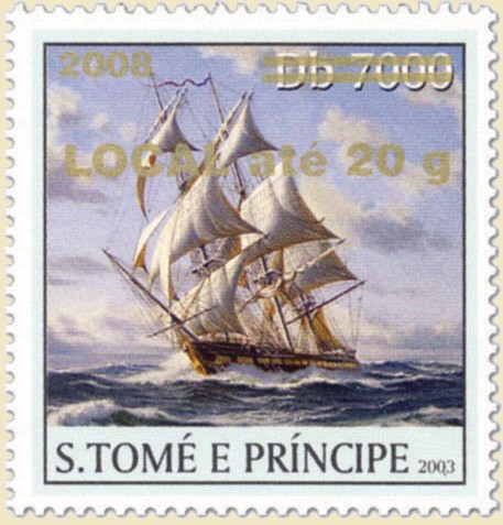 Sail Ships (2008) - gold - LOCAL ate 20g - Issue of Sao Tome and Principe postage stamps