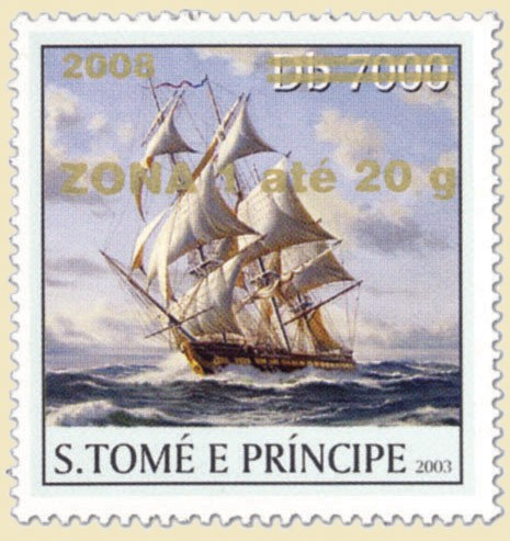 Sail Ships (2008) - gold - ZONA 1 ate 20g - Issue of Sao Tome and Principe postage stamps