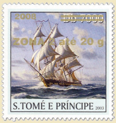 Sail Ships (2008) - gold - ZONA 2 ate 20g - Issue of Sao Tome and Principe postage stamps