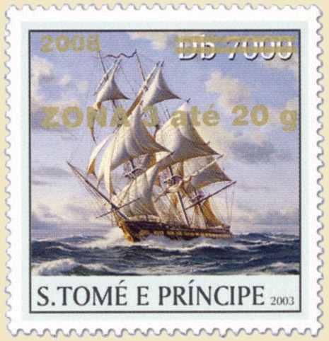 Sail Ships (2008) - gold - ZONA 3 ate 20g - Issue of Sao Tome and Principe postage stamps