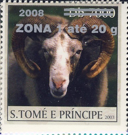 Mouflon (2008) - silver - ZONA 1 ate 20g - Issue of Sao Tome and Principe postage stamps