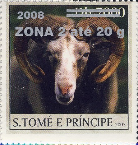 Mouflon (2008) - silver - ZONA 2 ate 20g - Issue of Sao Tome and Principe postage stamps
