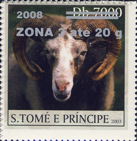 Mouflon (2008) - silver - ZONA 3 ate 20g - Issue of Sao Tome and Principe postage stamps