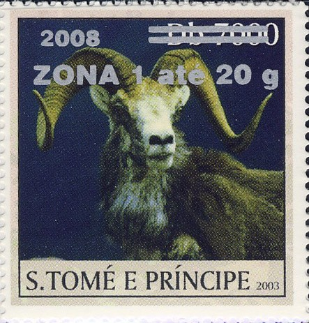 Mouflon II (2008) - silver - ZONA 1 ate 20g - Issue of Sao Tome and Principe postage stamps