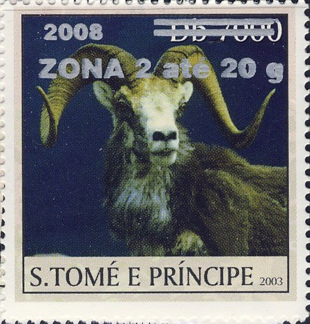Mouflon II (2008) - silver - ZONA 2 ate 20g - Issue of Sao Tome and Principe postage stamps