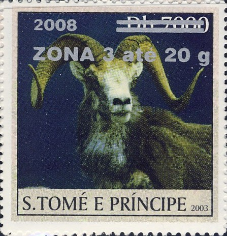 Mouflon II (2008) - silver - ZONA 3 ate 20g - Issue of Sao Tome and Principe postage stamps