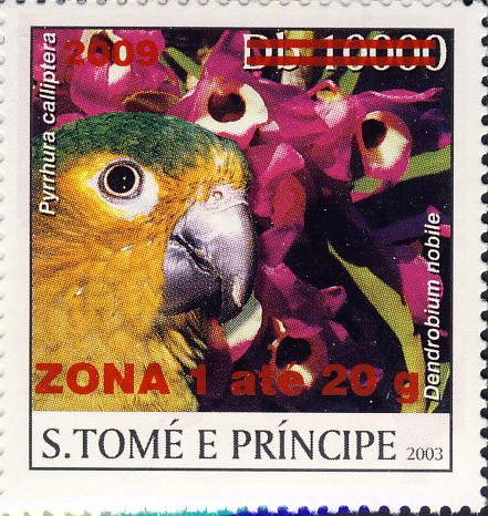 Parrot & red flower - red - ZONA 1 ate 20g - Issue of Sao Tome and Principe postage stamps