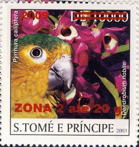 Parrot & red flower - red - ZONA 2 ate 20g - Issue of Sao Tome and Principe postage stamps
