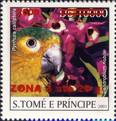Parrot & red flower - red - ZONA 3 ate 20g - Issue of Sao Tome and Principe postage stamps