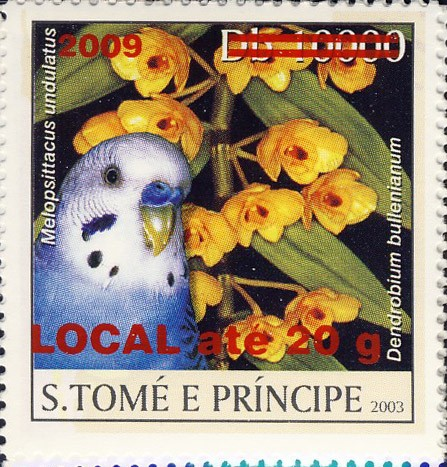 Parrot & yellow flower - red - LOCAL ate 20g - Issue of Sao Tome and Principe postage stamps