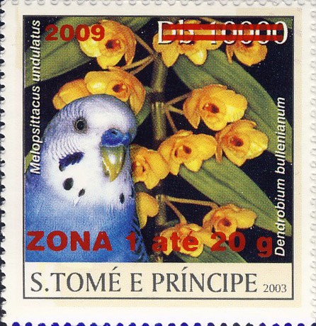 Parrot & yellow flower - red - ZONA 1 ate 20g - Issue of Sao Tome and Principe postage stamps