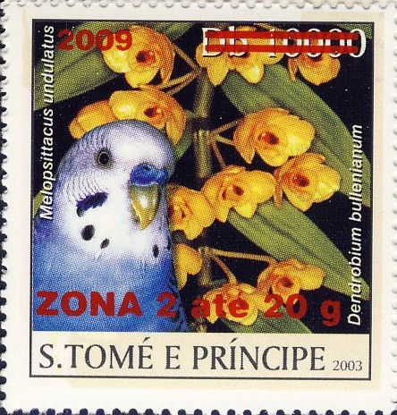 Parrot & yellow flower - red - ZONA 2 ate 20g - Issue of Sao Tome and Principe postage stamps