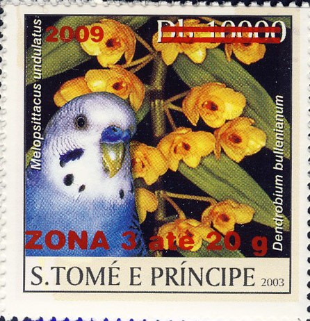Parrot & yellow flower - red - ZONA 3 ate 20g - Issue of Sao Tome and Principe postage stamps