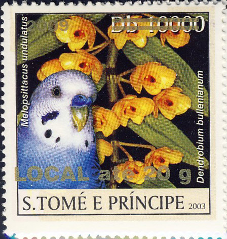 Parrot & yellow flower - gold - LOCAL ate 20g - Issue of Sao Tome and Principe postage stamps