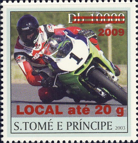 Motorcycle - red - LOCAL ate 20g - Issue of Sao Tome and Principe postage stamps