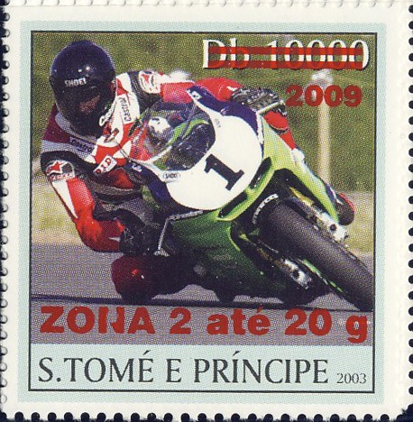 Motorcycle - red - ZONA 2 ate 20g - Issue of Sao Tome and Principe postage stamps
