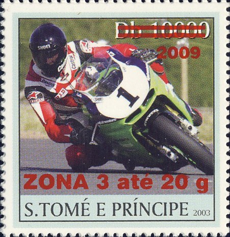 Motorcycle - red - ZONA 3 ate 20g - Issue of Sao Tome and Principe postage stamps