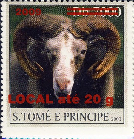Mouflon - red - LOCAL ate 20g - Issue of Sao Tome and Principe postage stamps