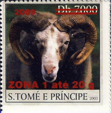Mouflon - red - ZONA 1 ate 20g - Issue of Sao Tome and Principe postage stamps
