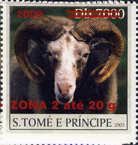 Mouflon - red - ZONA 2 ate 20g - Issue of Sao Tome and Principe postage stamps