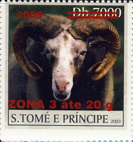 Mouflon - red - ZONA 3 ate 20g - Issue of Sao Tome and Principe postage stamps