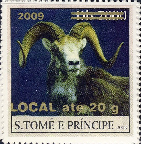 Mouflon II - gold - LOCAL ate 20g - Issue of Sao Tome and Principe postage stamps