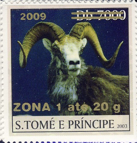 Mouflon II - gold - ZONA 1 ate 20g - Issue of Sao Tome and Principe postage stamps