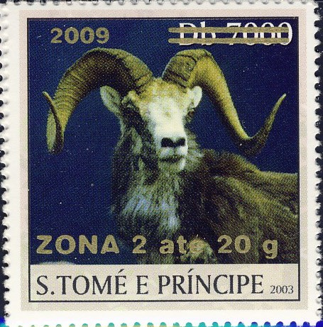 Mouflon II - gold - ZONA 2 ate 20g - Issue of Sao Tome and Principe postage stamps